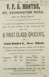 Advert for VFH Montru, grocer